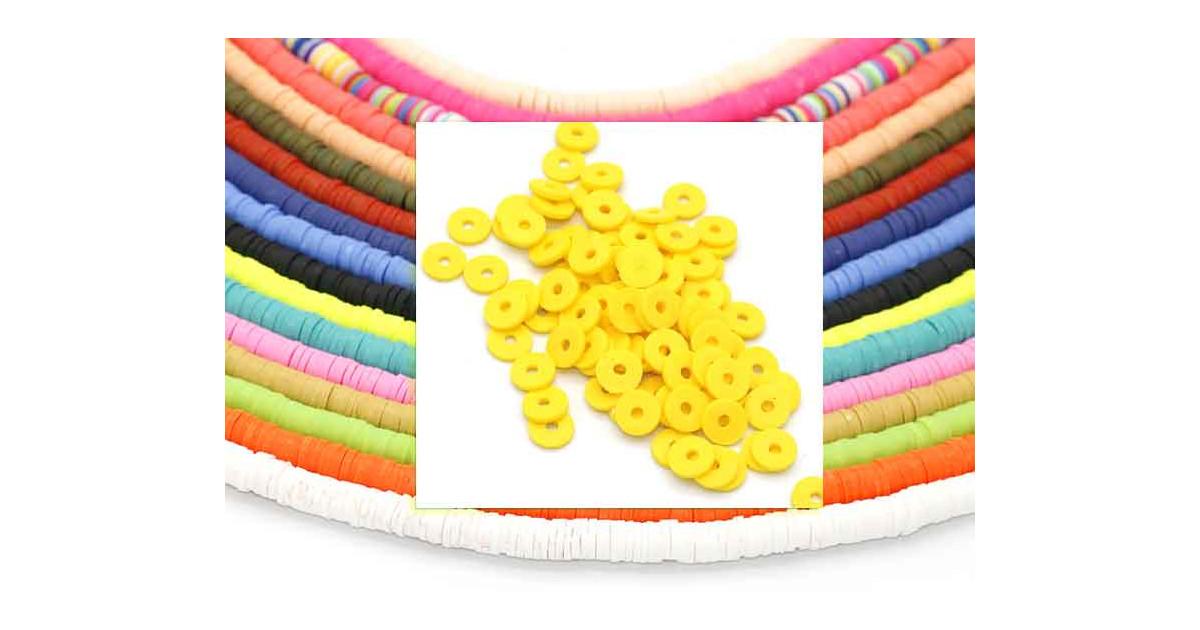 Heishi Rings 6mm Yellow