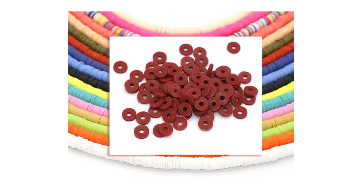 Heishi Rings 6mm Dark Red