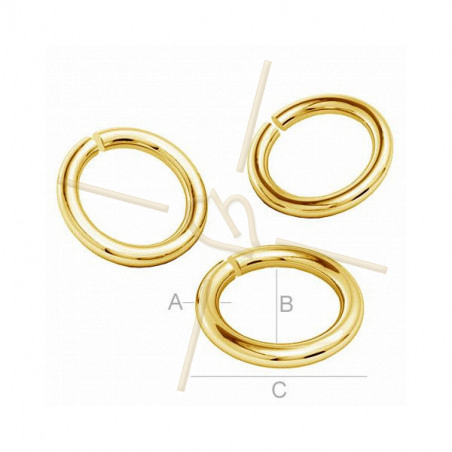 Rings open 4mm in real silver .925 Plaque Gold