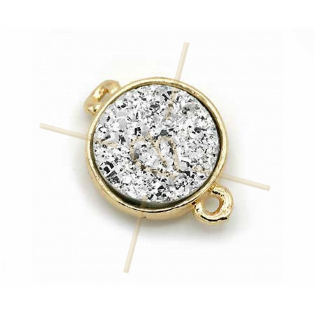 spacer round 2 rings gold plated imitation natural stone Crystal 12mm