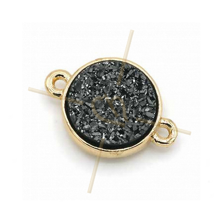 spacer round 2 rings gold plated imitation natural stone Hematite 12mm