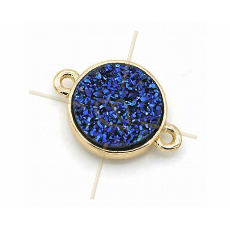 spacer round 2 rings gold plated imitation natural stone Blue 12mm
