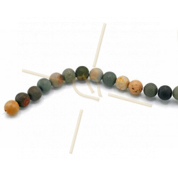 Jaspe Matte Polychrome natural gemstone 6mm