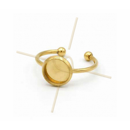 Ring adjustable stainless steel gold plated with surface 08mm