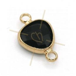 tussenstukje goutte zwart glas+metaal 9mm met 2 ringen gold plated