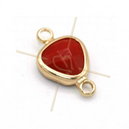 tussenstukje goutte rood glas+metaal 9mm met 2 ringen gold plated