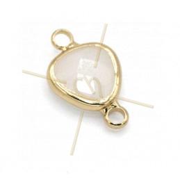 Connecteur Goutte verre crème +métal 9mm à 2 anneaux gold plated