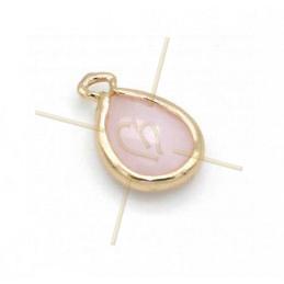 pendentif Goutte verre rose opal + métal 9mm à 2 anneaux gold plated