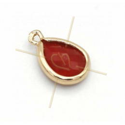 pendant Goutte glass red + métal 9mm with 2 rings gold plated