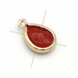 pendentif Goutte verre rood + métal 9mm à 2 anneaux gold plated