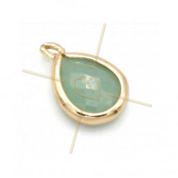 pendant Goutte glass turquoise + métal 9mm with 2 rings gold plated