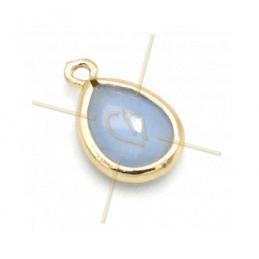 hangertje goutte blue opaque glas + metaal 9mm met 2 ringen gold plated