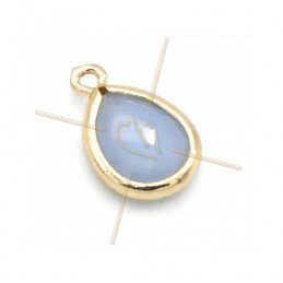 pendant Goutte glass blue opaque + métal 9mm with 2 rings gold plated
