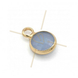 pendant rond glass blue opaque + métal 6mm with 1 ring gold plated
