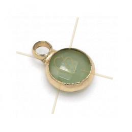 hangertje rond turquoise glas + metaal 6mm met 1 ring gold plated