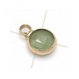 pendentif Rond verre turquoise + métal 6mm à 1 anneau gold plated