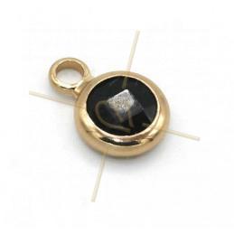hangertje rond zwart glas + metaal 6mm met 1 ring gold plated