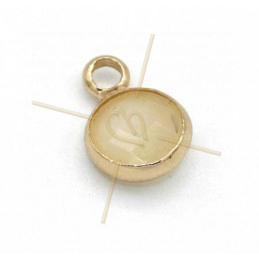 hangertje rond crème glas + metaal 6mm met 1 ring gold plated