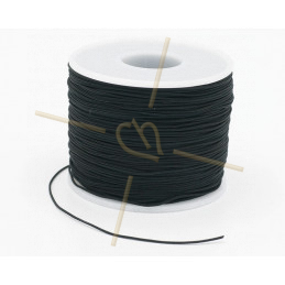 Macramé touw 0.5mm polyester zwart - rol 100 meter