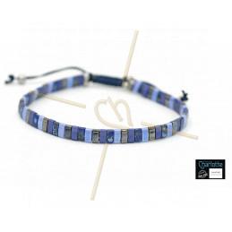 Kit bracelet with Miyuki Quarter + Half + Tila with macramé clasp blue mix