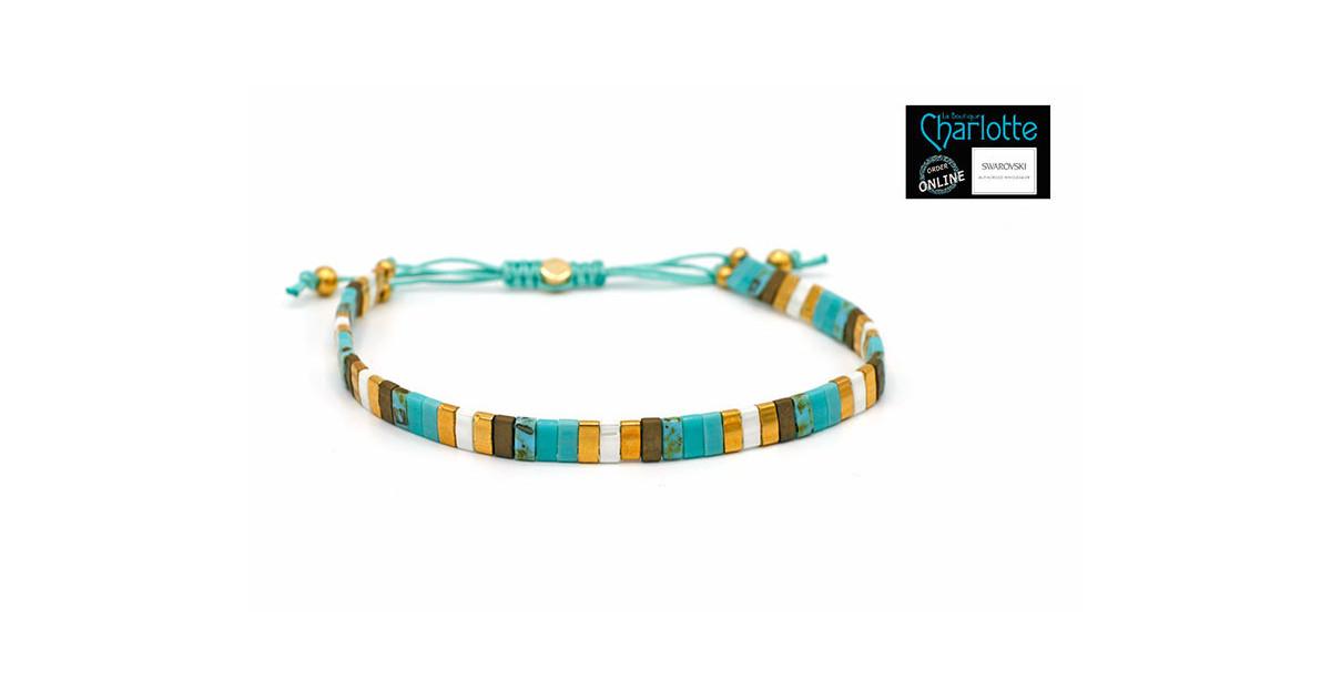 Kit bracelet with Miyuki Quarter + Half + Tila with macramé clasp Turquoise doré
