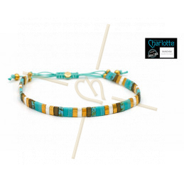 Kit bracelet with Miyuki Quarter + Half + Tila with macramé clasp Turquoise doré