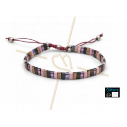 Kit bracelet with Miyuki Quarter + Half + Tila with macramé clasp Pink grey