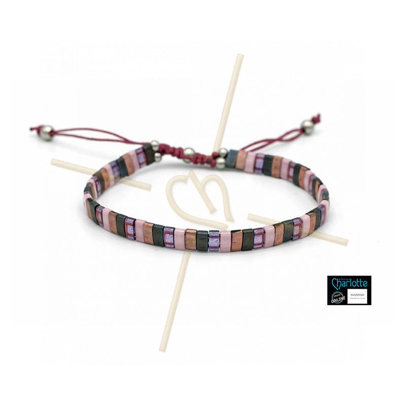 Kit bracelet with Miyuki Quarter + Half + Tila with macramé clasp Pink grey