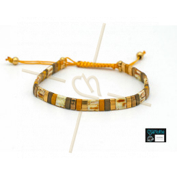 Kit bracelet with Miyuki Quarter + Half + Tila with macramé clasp Yellow Gold