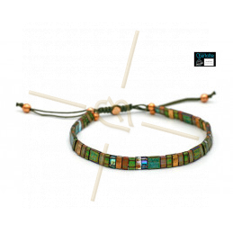 Kit bracelet with Miyuki Quarter + Half + Tila with macramé clasp Khaki Green