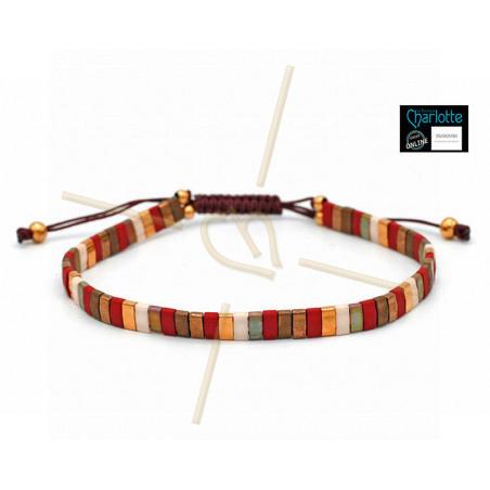 Kit bracelet with Miyuki Quarter + Half + Tila with macramé clasp Red Gold mix