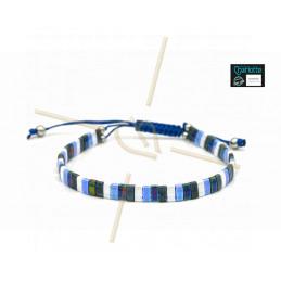 Kit armbandje met Miyuki quart + half + Tila met macramé sluiting Blauw Wit Mix