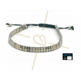Kit armbandje met Miyuki quart + half + Tila met macramé sluiting Full Palladium