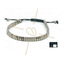 Kit bracelet with Miyuki Quarter + Half + Tila with macramé clasp Full Palladium
