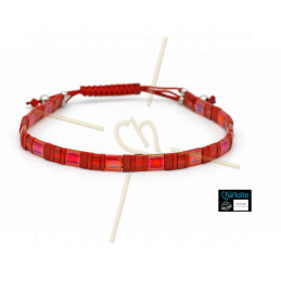 Kit bracelet with Miyuki Quarter + Half + Tila with macramé clasp Spicy Red