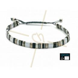 Kit bracelet avec Miyuki Quart + Demi + Tila en macramé fermoir 3 nuances gris
