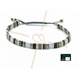 Kit bracelet with Miyuki Quarter + Half + Tila with macramé clasp 3 shades of grey