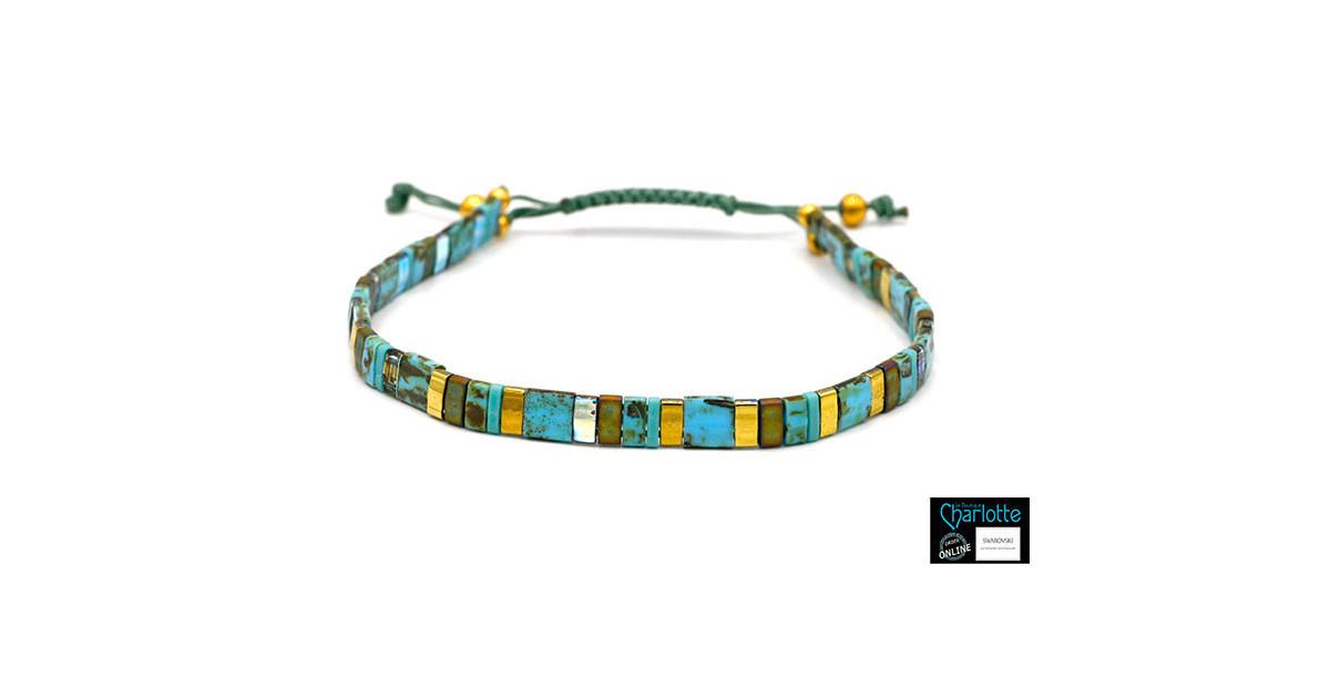 Kit bracelet with Miyuki Quarter + Half + Tila with macramé clasp Turquoise Picasso bronze