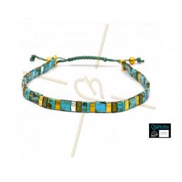 Kit bracelet avec Miyuki Quart + Demi + Tila en macramé fermoir Turquoise Picasso bronze