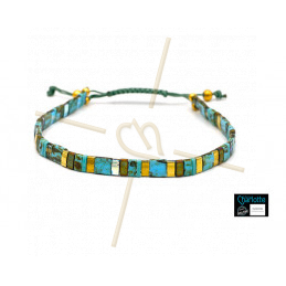 Kit bracelet with Miyuki Quarter + Half + Tila with macramé clasp Turquoise Picasso bronze