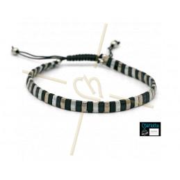 Kit bracelet avec Miyuki Quart + Demi + Tila en macramé fermoir Gris Noir