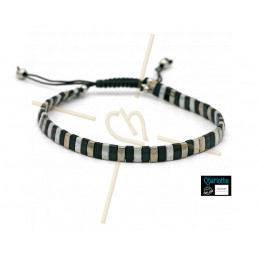 Kit bracelet with Miyuki Quarter + Half + Tila with macramé clasp Grey Black