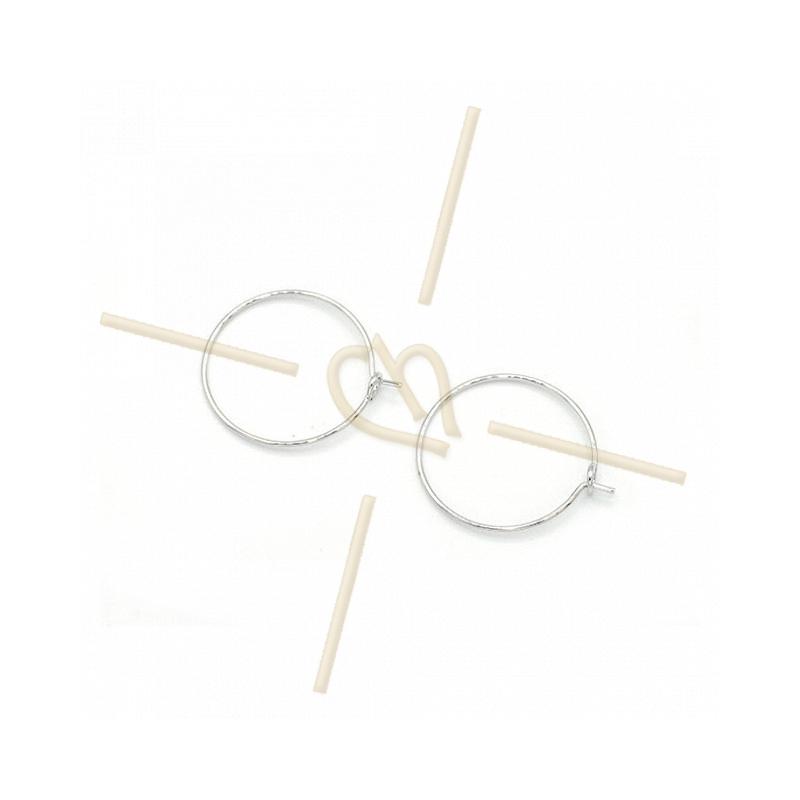 Hoops Earrings round 20mm Rhodium plated