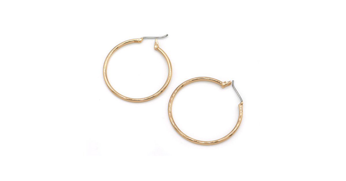 Hoops Earrings round 30mm Gold Plated