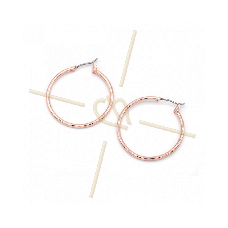 Hoops Earrings round 30mm Rose Gold Plated