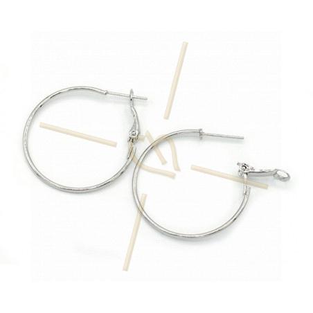 Hoops Earrings round 30mm Rhodium