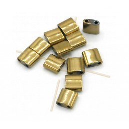 Hematiet Tila 2-gaatjes 5*5mm Gold Plated
