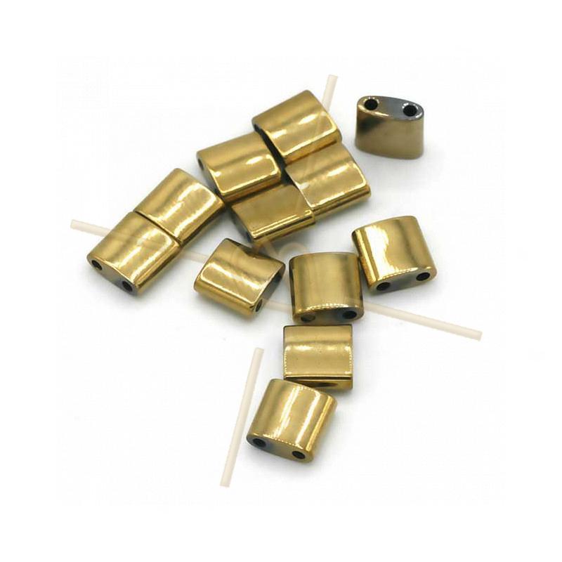 Hematite Tila 2-holes 5*5mm Gold Plated