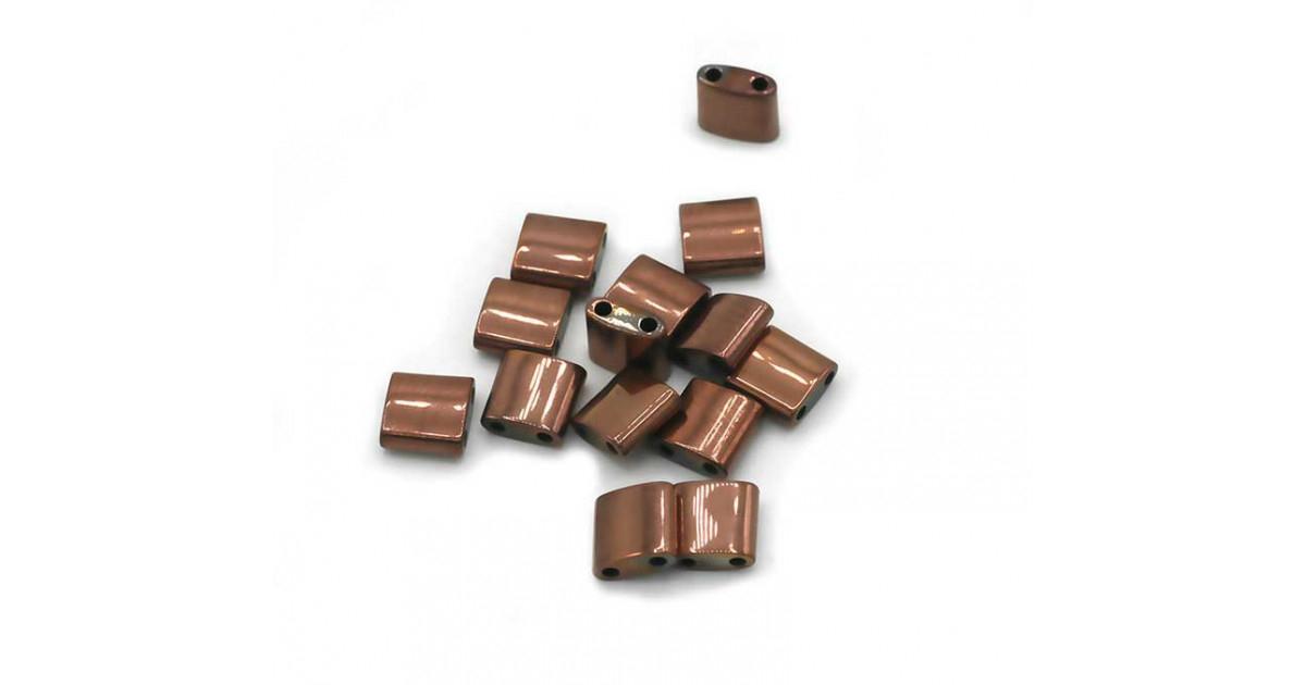 Hematite Tila 2-holes 5*5mm Rose Gold Plated