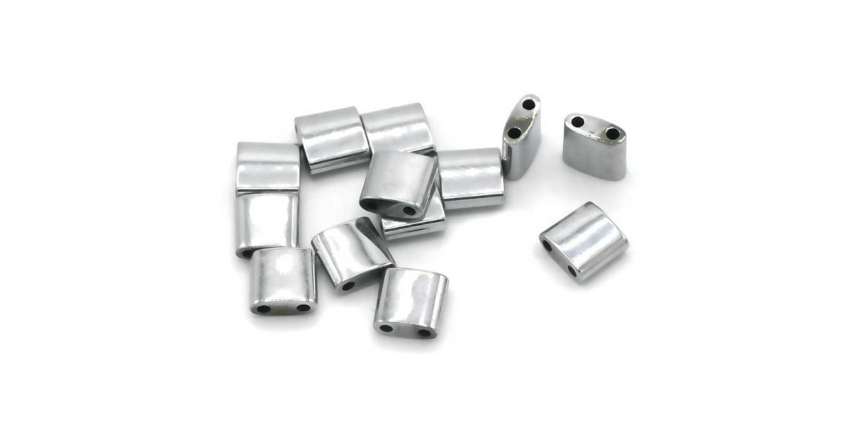 Hematite Tila 2-holes 5*5mm Rhodium